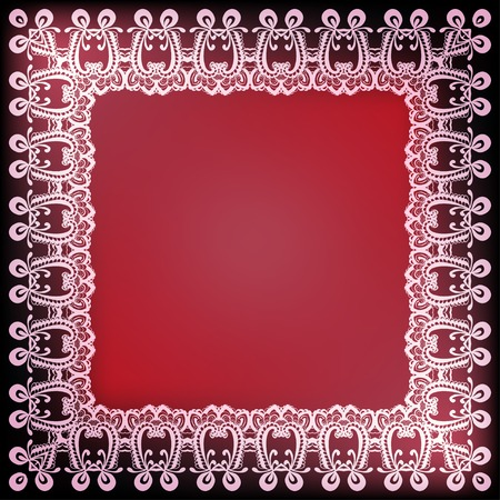 effects of lighting: Ornamental lace frame on red background with lighting effects