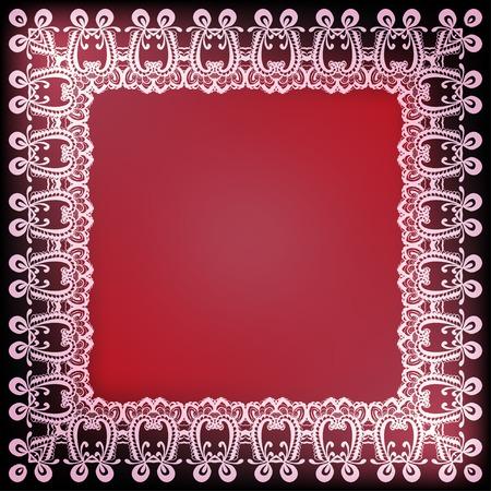 lichteffekte: Ornamental Spitze Rahmen auf rotem Hintergrund mit Lichteffekten