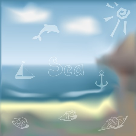 vague: card with summer symbols scattered on the background of vague Illustration