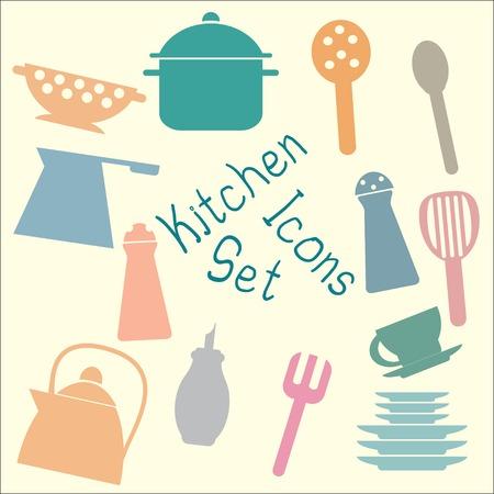 Set of flat icons of kitchen utensils in retro scheme Vector