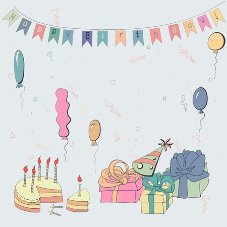 festoon: Vector card with cake, baloons gifts and garland Illustration