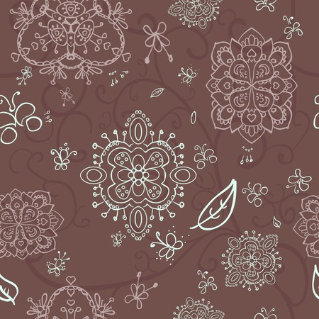 contrasty: contrasty doodle  pattern on a brown background with varicolored flowers and butterfly Illustration