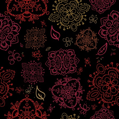 Doodle bright flowers on black backgound seamless pattern Vector