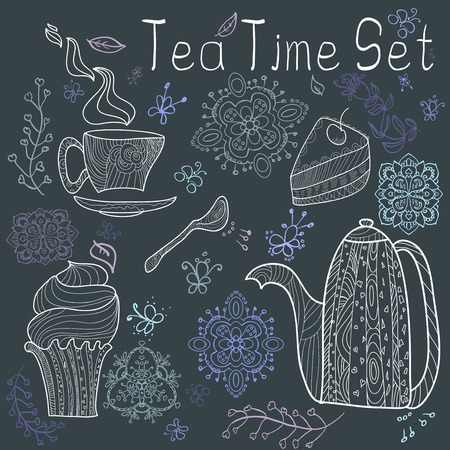 Brown card with tea accessories and doodle flowers Vector