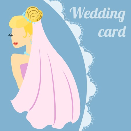 wedding reception decoration: Bride on wedding holiday card. Place for text