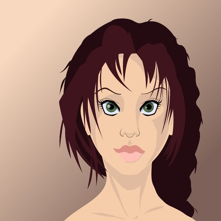 perfect skin: Girl face in high quality. Many details. Can be used as an avatar. vector illustration