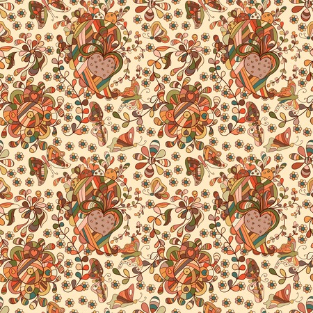 doodling: Beautiful simple doodling flat flowers seamless pattern. Autumn colors