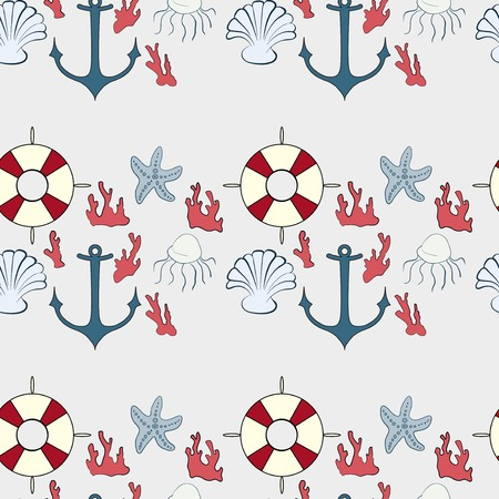 seamless pattern with marine symbols on a light background Vector