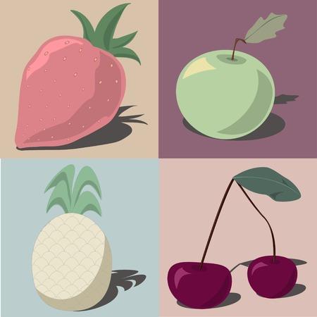 pastel shades: Halftone fruits in pastel shades