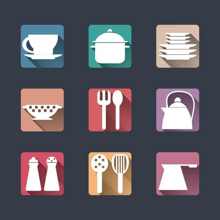 pepperbox: Kitchen icons. Flat set, long shadows.