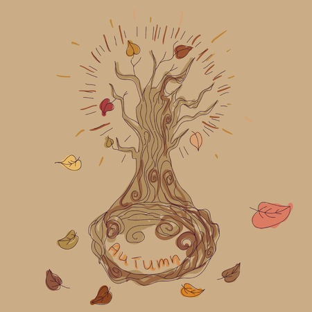 autumn tree drawn in the style of doodle Vector