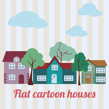 Flat cartoon houses. Clouds, trees. Vector illustration