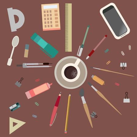 mess: Desktop creative mess. View from above flat set vector illustration
