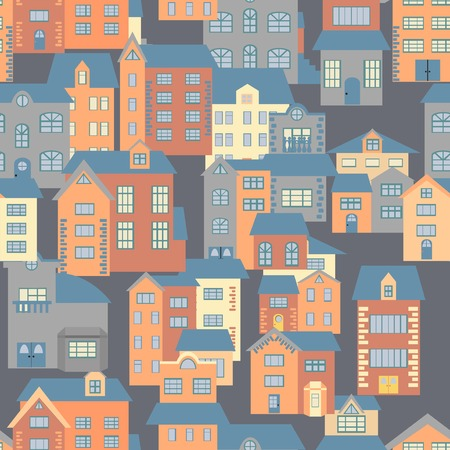 facade and house: Seamless pattern of flat cartoon houses. Vector illustration