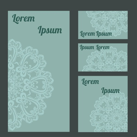 celadon: Set of template of blank cards and booklet. Abstract pattern with lace on celadon background