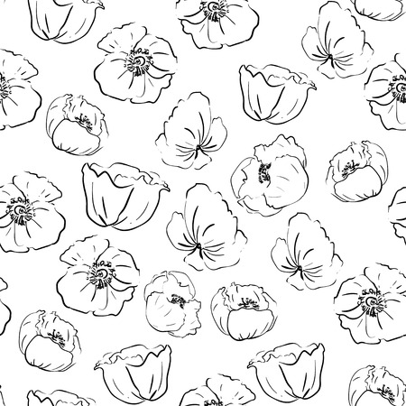 poppies: Hand-drawn black-and-white poppies pattern in graphic style