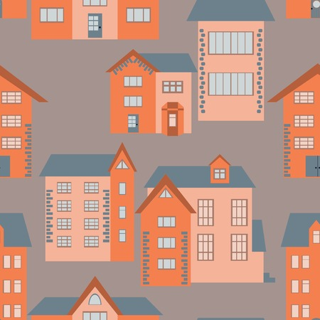 overhang: Seamless pattern of flat cartoon houses. Vector illustration