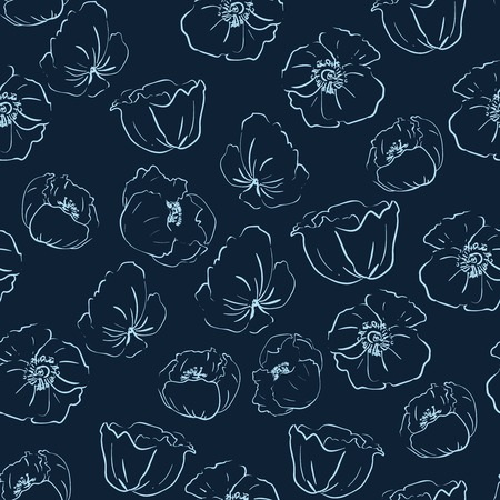 poppies: Hand-drawn  poppies pattern in graphic style Illustration