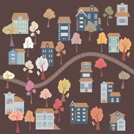 orange trees: Flat cartoon houses, road, seamless pattern . Vector illustration Illustration
