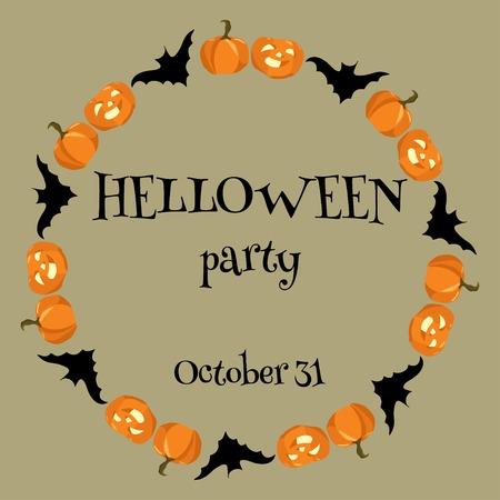 helloween: Helloween card wiht pumpkins and bats on light background Illustration