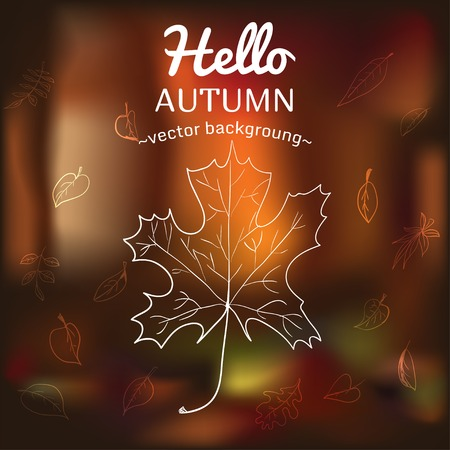 temperate: Card with autumn symbols scattered on the background of vague Illustration