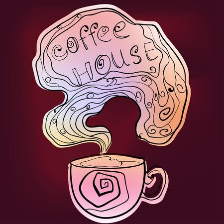 burgundy background: Coffee house doodling card on burgundy background.