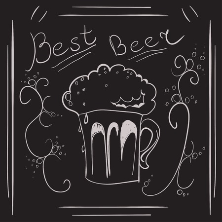 beer pint: Hand-drawn beer pint glass on chalkboard.