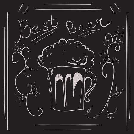 beer pint: Vaso de pinta de cerveza a mano en la pizarra. Vectores