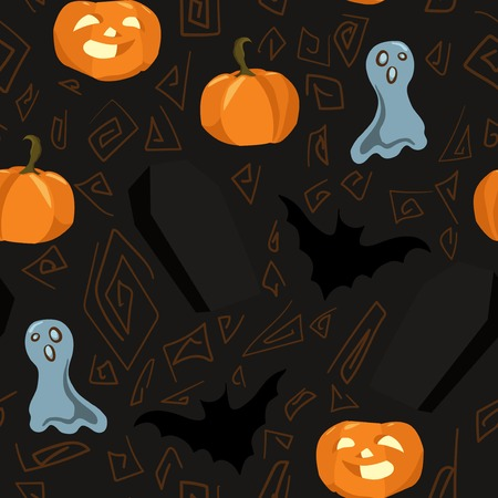 Seamless background with symbols of Halloween and abstract pattern Vector