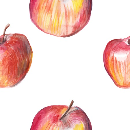 nature one painted: Watercolor apple seamless pattern on white background.