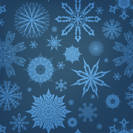 Seamless pattern with snowflakes with light spots.