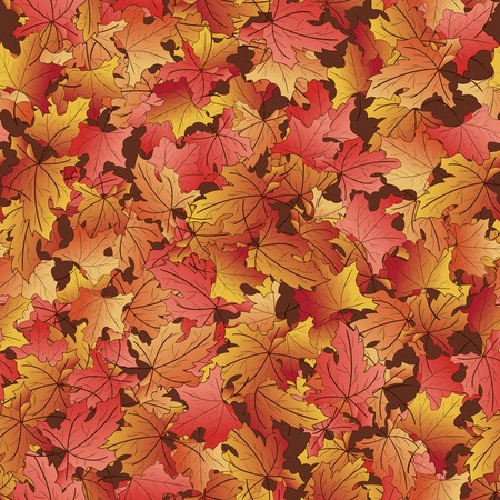 frondage: Seamless pattern with fallen autumn different warm shades leaves