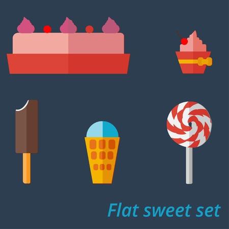 meringue: Flat set of sweets, ice-cream, cupcake and lollipop Illustration