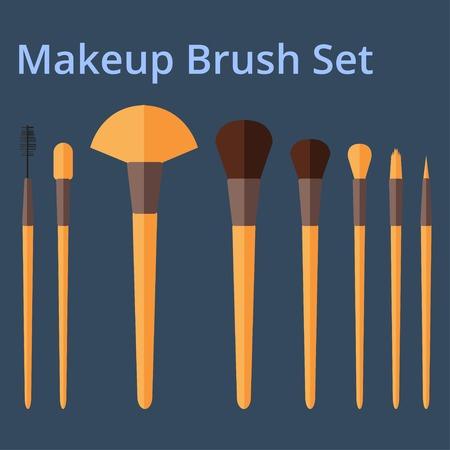 corrector: Makeup Brush Set on Dark Background.