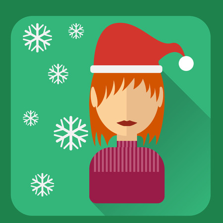 christmas cap: Flat avatar Character in a Christmas cap