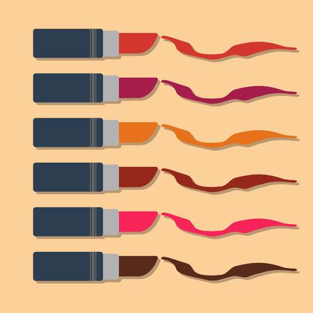 color samples: set of lipsticks with color samples.