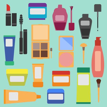productos de belleza: Cosmética de la mujer ocupa estilo plano.