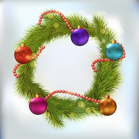 chaplet: Christmas wreath decorated with balls and chaplet