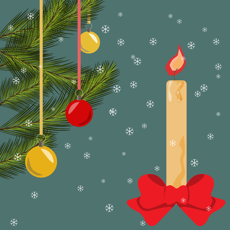 lighted: Christmas card with fir branches, bells, lighted candle and bow, background with snowflakes Vector flat illustration
