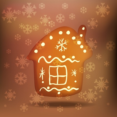 gingerbread house: Christmas gingerbread house surrounded by falling snowflakes