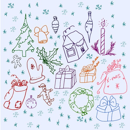 winter stylized: Set of symbols of Christmas and winter. Stylized drawing of a child. Illustration