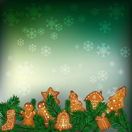 gingerbread cake: Christmas background with gingerbreads, snowflakes and fir branches Illustration