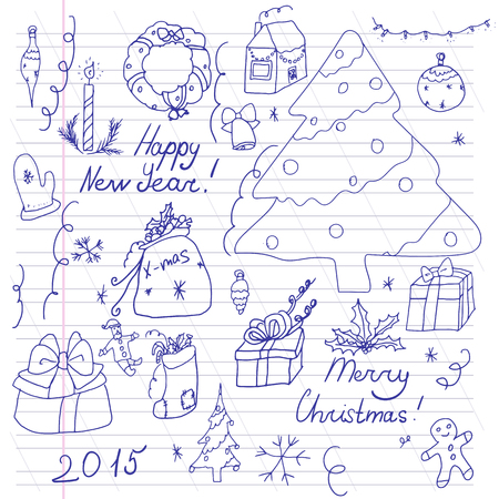 christmas tree ball: Set of symbols of Christmas and winter. Stylized drawing of a child. Illustration