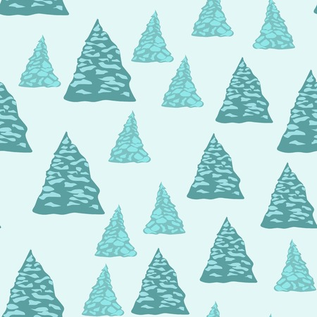Seamless background, firtrees with snow. Vector illustration
