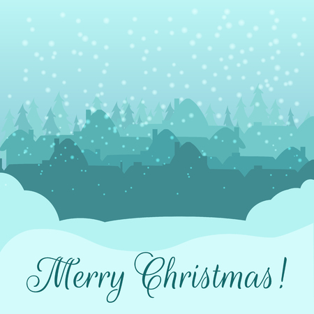 snowcovered: Christmas card.  Silhouette of a small town early on Christmas morning. Heavy snowfall, snow-covered hills. Greeting inscription. Vector illustration Illustration
