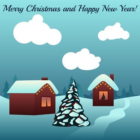 decorated christmas tree: Christmas card. Houses in snow. Decorated Christmas tree