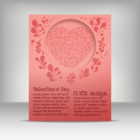 flayer: Valentins day flayer design, letter format, red heart drawn doodle elements Illustration