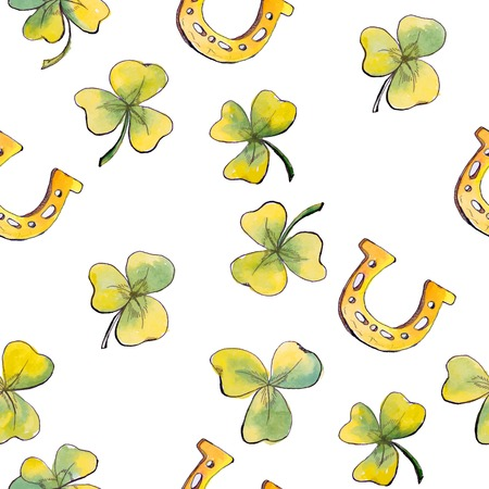 eire: St. Patricks Day watercolor seamless pattern - clover, horseshoe on white background. Vector illustration