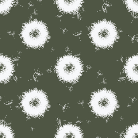 marsh: Abstract dandelions on marsh color background, vector seamless pattern