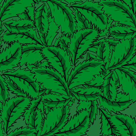 handdraw: Seamless pattern of mint leaves, hand-draw style. Vector illustration Illustration